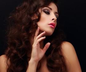 Beautiful curly hair woman elegant makeup 04