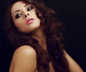 Beautiful curly hair woman elegant makeup 05