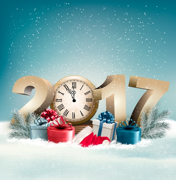 Beauty Holiday Christmas Background With Presents And 2017