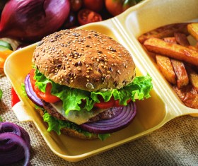 Beef Burger with French Fries Stock Photo