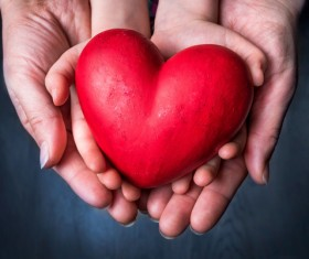Big and small hands holding a red heart-shaped Stock Photo