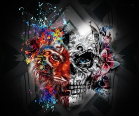Black background and abstract man and animal face