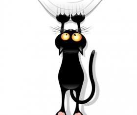 Black cartoon cat with claw trace vector 02
