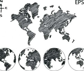 Black maps hand drawn vector