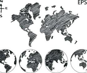 Black maps hand drawn vector
