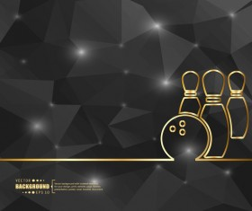 Black polygon background with bowling vector
