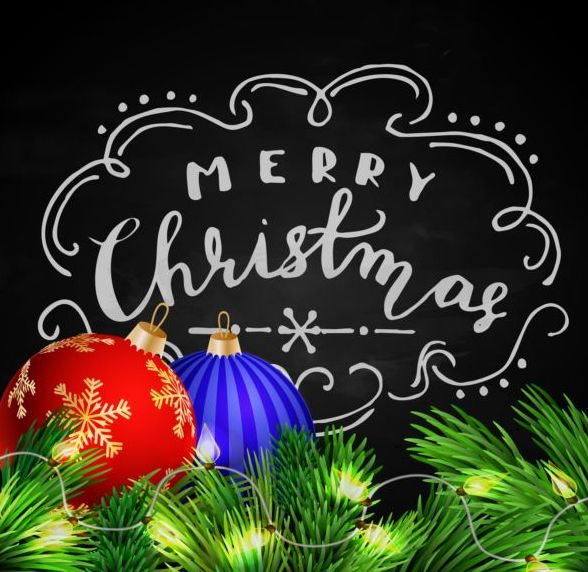 Blackboard with christmas background vector design 02