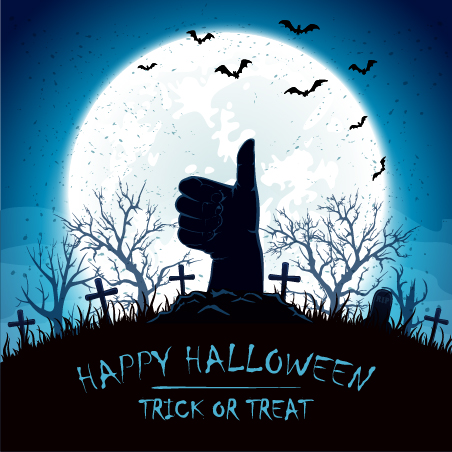 Blue Halloween background with thumb up on cemetery vector