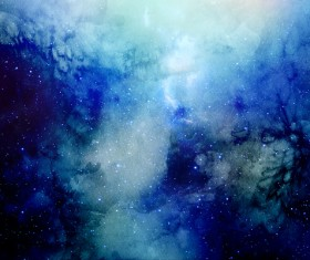 Blue Space Watercolor Backgrounds Stock Photo