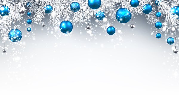 Blue christmas ball with tree branches