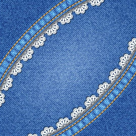 Blue denim textured with lace background vector