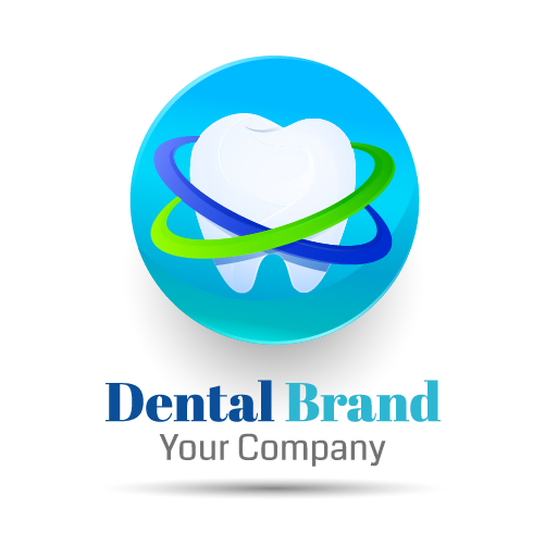 Blue dental drand logo vector