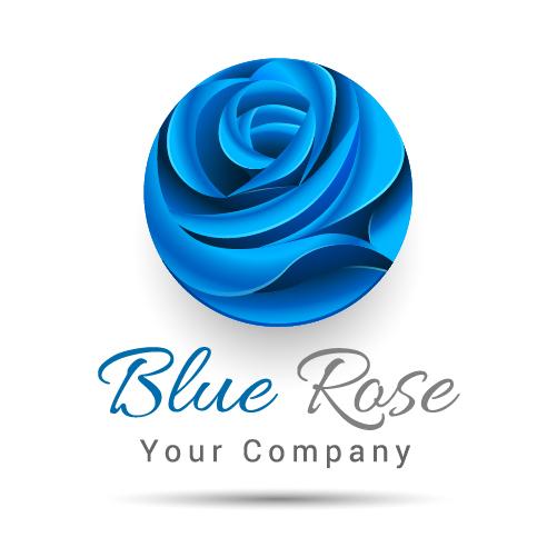 Blue rose logo design vector - free download