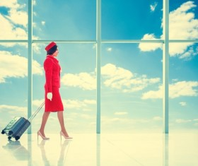 Blue sky background with towing flight attendants HD picture