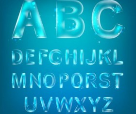 Blue transparent alphabet vectors