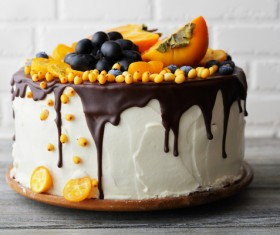 Blueberry Persimmon Chocolate Cake