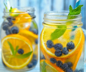 Blueberry oranges Fresh fruit juice HD picture
