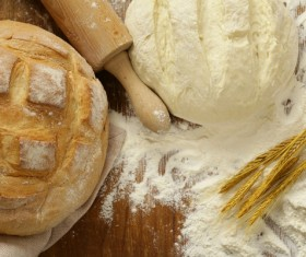 Bread and dough on the table and rolling pin Stock Photo