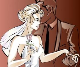 Bride and groom wedding invitation template vector 01