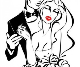Bride and groom wedding invitation template vector 04