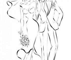 Bride and groom wedding invitation template vector 07