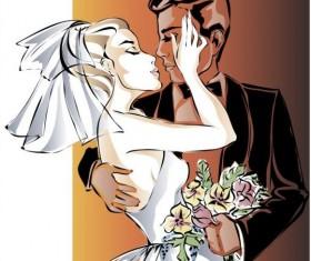 Bride and groom wedding invitation template vector 08