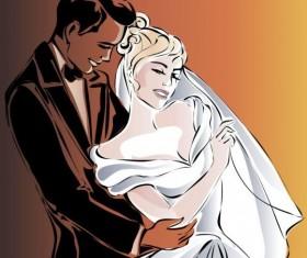 Bride and groom wedding invitation template vector 12