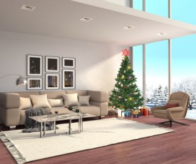 Bright and spacious living room with Christmas tree HD picture