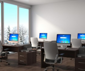 Bright office with snowy window HD picture