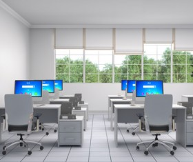 Bright office with trees and trees outside the window HD picture