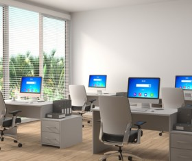 Bright office with window out tropical plants HD picture