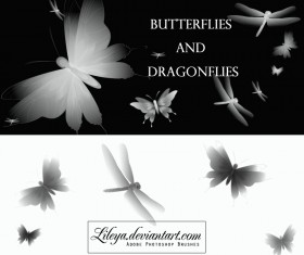 Butterflies and dragonflies photoshop brushes