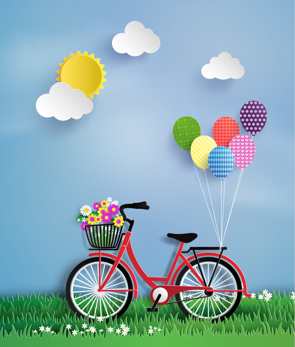 Byicycle and flower with grass vector