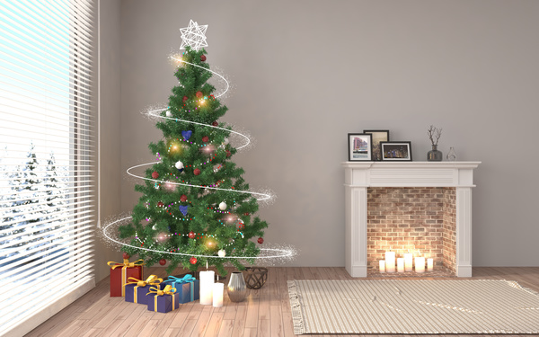 Candle In The Fireplace With The Christmas Tree In The Corner Free