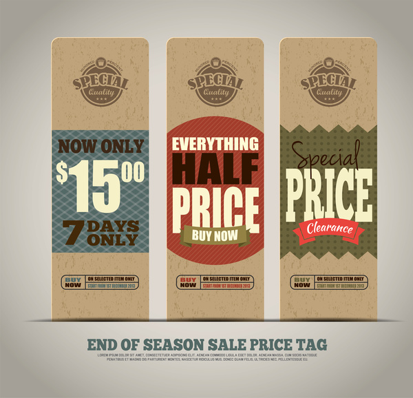 Cardboard sale tags retro vector set 06