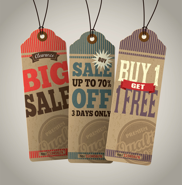 Cardboard sale tags retro vector set 08