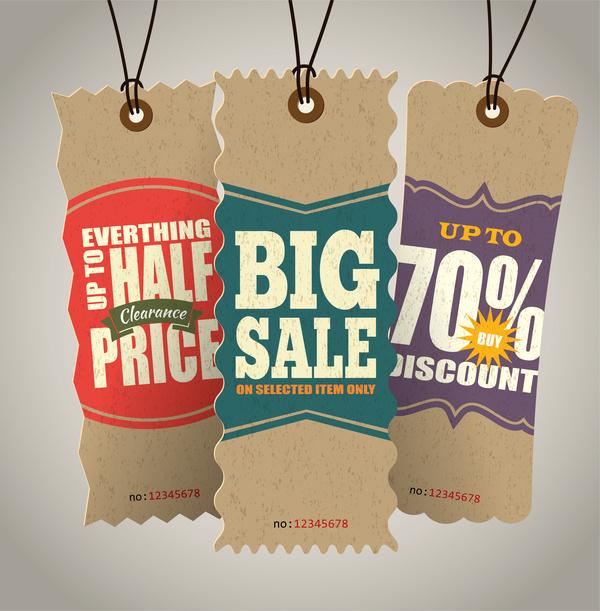 Cardboard sale tags retro vector set 10