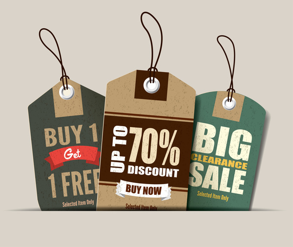 Cardboard sale tags retro vector set 16