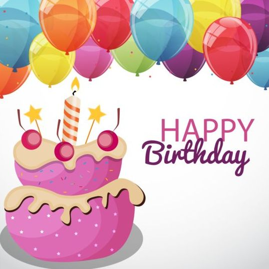 Cartoon Birthday Cake With Color Balloons Vectors 02 Free Download