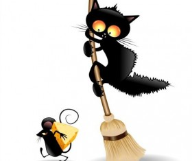 Cats and mouse black cartoon vector