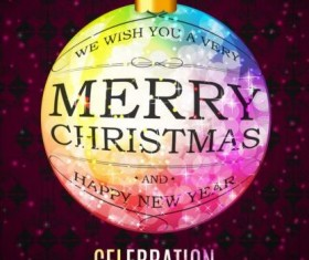 Celebration poster with christmas ball vector
