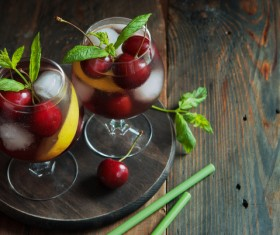 Cherry plus ice drinks HD picture Stock Photo