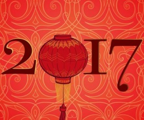 Chinese 2017 New Year red background vector 01
