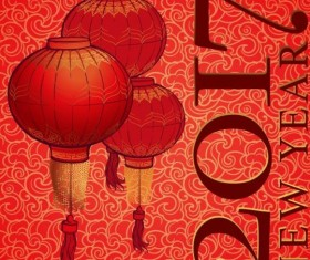 Chinese 2017 New Year red background vector 03