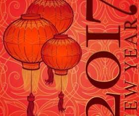 Chinese 2017 New Year red background vector 05