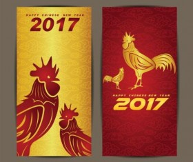 Chinese new year 2017 vertical cards vector 01