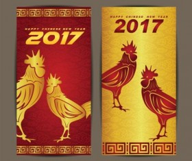 Chinese new year 2017 vertical cards vector 02