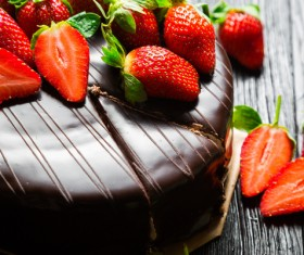Chocolate cake and strawberry on the table