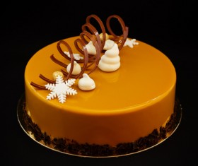 Chocolate lace with golden cake and ornament