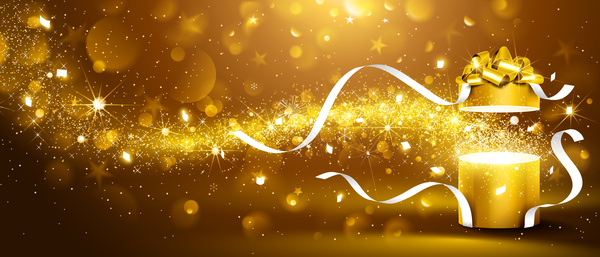 Christmas Gift Box With Gold Background Vector Vector